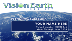 Example membership card - Vision Earth Society